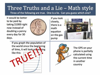 Snippet: Three Truths and a Lie - Math Style! Scenarios 1 to 4