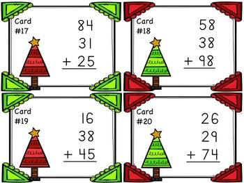 Three Two-Digit Addition Task Cards - Christmas Themed!