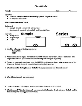 Three Types of Circuits - Lab - Simple, Series, Parallel | TpT