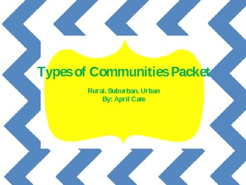 Three Types of Communities Packet {Rural, Suburban, Urban}
