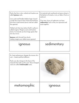 Three Types of Rock - Three Part Cards and Research Template