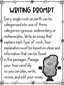Three Types of Rocks Writing Prompt with Mentor Texts