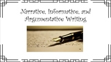 Three Types of Writing (Argumentative, Informative, Narrat