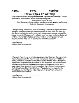 Three Types of Writing Informational, Opinion, Narrative Assessment Printable!