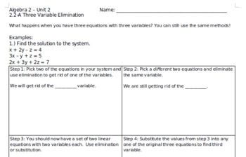 Three Variable Systems of Equations by Elimination and Substitution