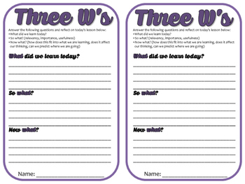 Three W's Exit Slip