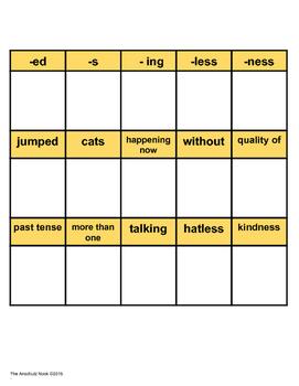 Three Way Suffix Match Game