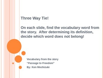 """Three Way Tie-Vocabulary from the story """"Passage to Freedom""""--Reading Street"""