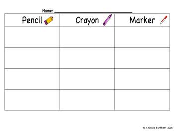 Three Way Writing (Pencil, Crayon, Marker)