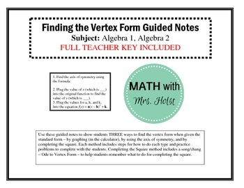 Three Ways to Find the Vertex Form Guided Notes