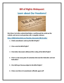 Three Webquest Packet: Bill of Rights, Constitution, Federalists vs Anti-Fed
