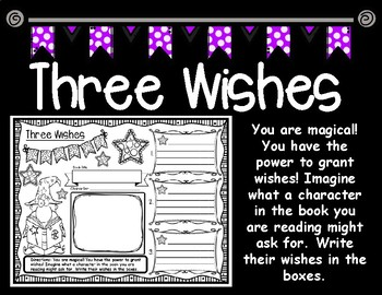 Three Wishes Character Analysis Graphic Organizer for Any Fictional Text