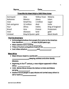 Three Worlds Meet Origins-1620 Video Notes- Schlessinger Media