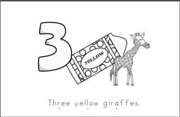 Three Yellow Giraffes Early Emergent Reader (Short & Tall) - Black/White Version