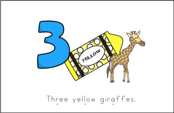 Three Yellow Giraffes Early Emergent Reader (Short & Tall) - Full Color Version