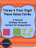 Three and Four Digit Base-10 Number Cards Bundle - Two Sets of 56 Cards