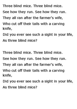 Three blind mice. Three blind mice Word Search