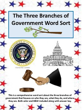 Three branches of government word sort, Social Studies interactive notebook