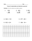 Three by Two Digit Addition and Subtraction with Word Problems Assessment