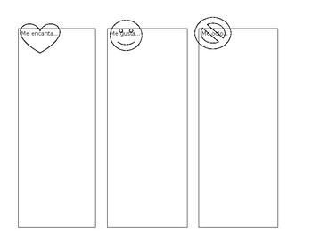 Three column chart to distinguish like, love hate in foods