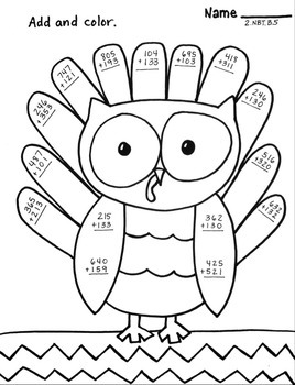 three digit addition no regrouping owl turkey thanksgiving color sheet 2 nbt b 5. Black Bedroom Furniture Sets. Home Design Ideas