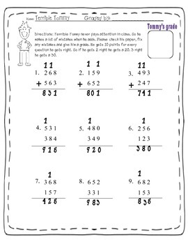 Three digit addition activity ( Terrible Tommy