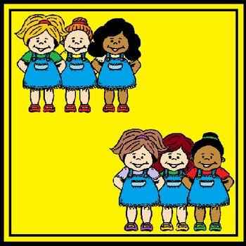 Three girls in denim dresses - FREE