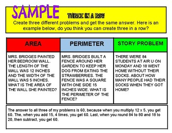 Three in a Row Challenge: A Digital or Printable Math Project