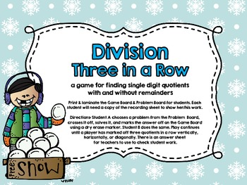 Three in a Row-Division-Single Digit Quotients