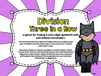 Three in a Row-Division-Two and Three Digit Quotients