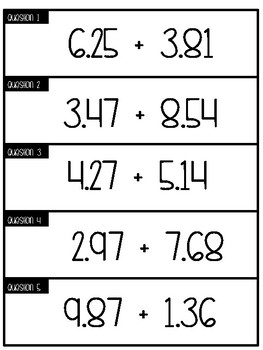 Three in a Row Review: Adding and Subtracting Decimals