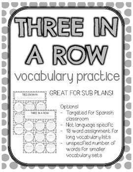 Three in a Row Vocabulary Practice for World Languages