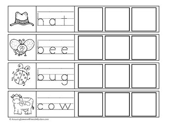 Three letter Words Tracing and Cut and Paste Sheets