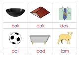 Three letter phonetic words 3-Part Cards - Afrikaans