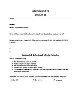 Three methods to solving quadratics