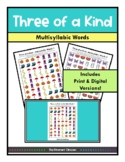 Three of a Kind GAME Multisyllabic Words, SPEECH THERAPY, Articulation