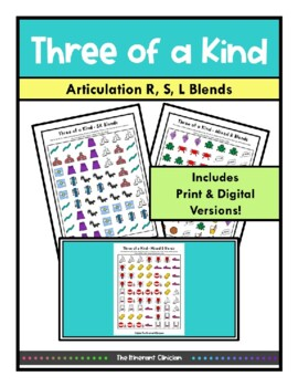 Three of a Kind GAME S BLENDS, SPEECH THERAPY, Articulation