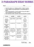 Three-paragraph essay rubric (generic)