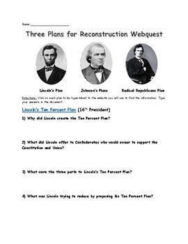 Three plans for Reconstruction Webquest