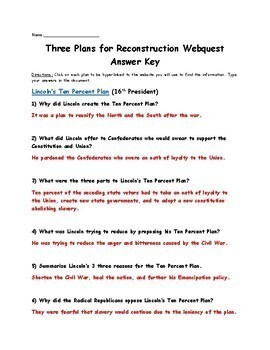 Three plans for Reconstruction (Lincoln's, Johnson's, Radical ...