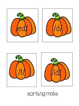 Three sounds of -ed /ed/ /d/ /t/ Pumpkin Sorts