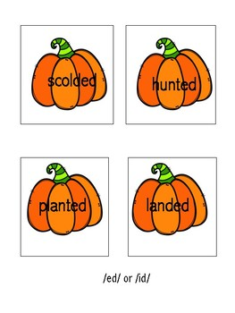 Three sounds of -ed /ed/ /d/ /t/ Pumpkin Sorts
