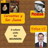 Cervantes and Sor Juana (1), Picasso (2), Felipe VI (3);  mini-units - Beg. 1