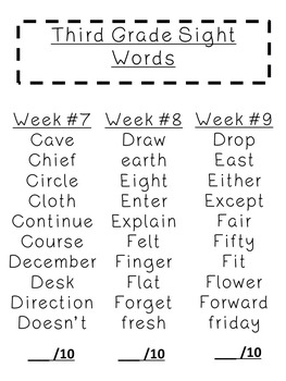 Third Grade Sight Words for students, small groups,centers & more(30 full weeks)