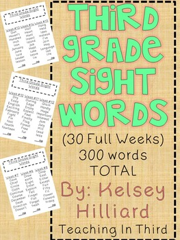 Thrid Grade Sight Words for students, small groups,centers