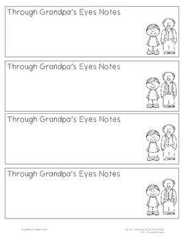 Through Grandpa's Eyes Notetaking Bookmark