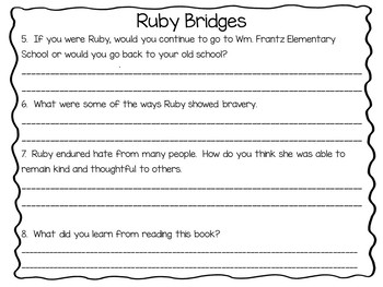 Through My Eyes  ~  Ruby Bridges ~ 31 pages of Common Core Activities