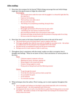 """""""Through the Tunnel"""" by Doris Lessing - worksheet and key"""