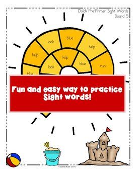 Through the Year - Dolch Pre-Primer Sight Word Games - August