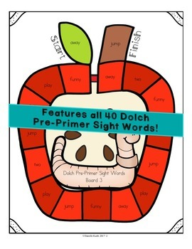 Through the Year - Dolch Pre-Primer Sight Word Games - September